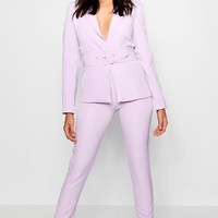 White Button Detail Tapered Trouser | Boohoo