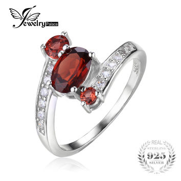 JewelryPalace 925 Sterling Silver 1.2ct Natural Red Garnet 3 Stone Anniversary Ring Fabulous Design Hot Sale Promotion Best Gift