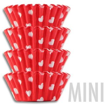 Mini Red & White Hearts Baking Cups - 50 mini Valentines Day paper cupcake liners