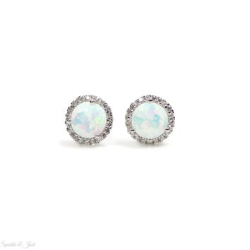 Sterling Silver White Opal and CZ Halo Earrings