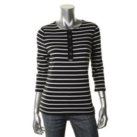 LRL Lauren Jeans Co. Womens Striped Crew Neck Henley Top
