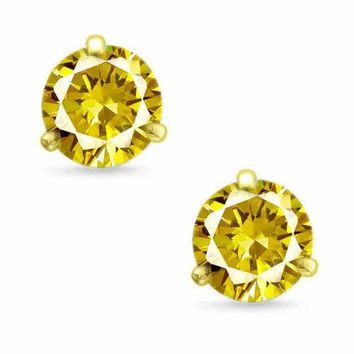 d4cc9b537 Martini Round Cut Canary CZ 14k Yellow Gold Sterling Silver Stud Earrings  New