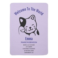 Cute Black and White Kitty Cat Waving Hello Baby Blanket
