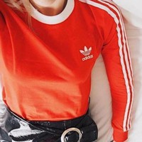 Adidas Trending Originals Red Three Stripe Long Sleeve Tee T-Shirt I Sweater Top I
