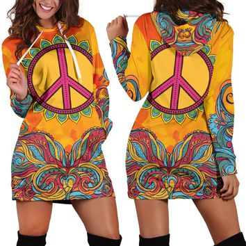 Hippie Peace Yellow Hoodie Dress