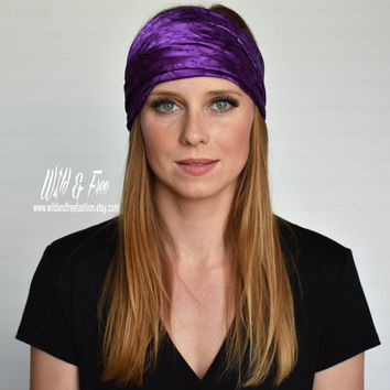 Ladies purple headwrap, Womens satin bandana, Wide boho headband, Turban, Headscarf, Scarf, Bandana, kerchief