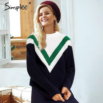 Big V Contrast Knitted Pullover Sweater