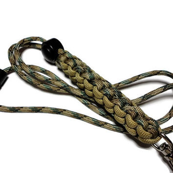 Mens 550 Paracord Lanyard Id Badge Holder in Camo and Khaki Tan Breakaway Crown Sinnet Handmade USA Military Grade Cord