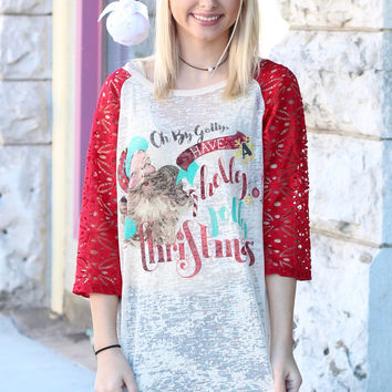 Holly Jolly Christmas Lace Sleeve Burnout Raglan