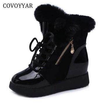 COVOYYAR 2017 Warm Fur Women Ankle Boots Winter Side Zip Hidden Heel Snow Boots Lace Up Woman Shoes Trainers WBS651