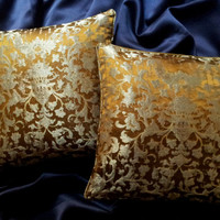 Silk Jacquard Rubelli Fabric Throw Pillow Cushion Cover Bronze & Silver Les Indes Galantes Pattern Made to Order - All Handmade in Italy
