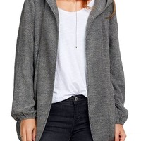 Cupshe Fashion Women's Open Front Hooded Poncho Coat, Grey
