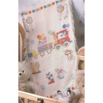 "Circus Train Baby Afghan Counted Cross Stitch Kit-29""X45"" 18 Count"