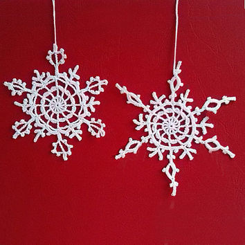Crochet Snowflake Set #3 Handmade christmas tree decorations Christmas time X-mas holiday decor New Year ornaments accents Winter presents