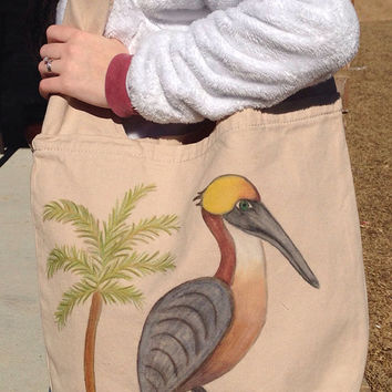 Hand Painted Pelican Canvas Sling Messenger Bag