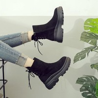 Women Fashion Casual Retro Thick Bottom Martin Boots Solid Color Platform Locomotive Short Boots