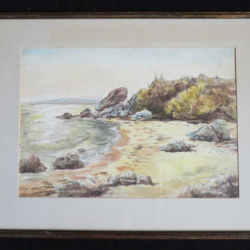 Vintage Signed Watercolor Painting Seascape 1967