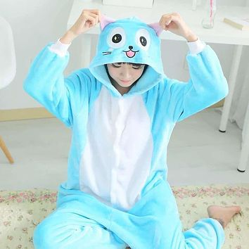 Anime Happy blue cat in Fairy Tail Pajamas Onesuit Costume cosplay