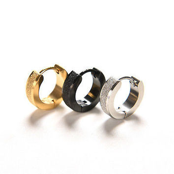 Fashion Huggies Punk Mens Women Crystal Ear Hoop Stud Earrings