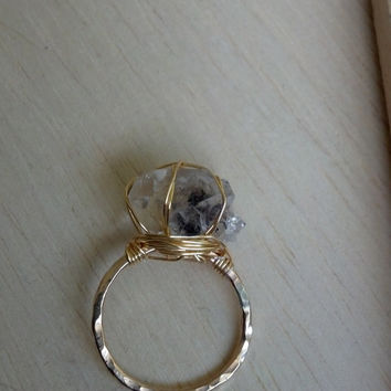 Wire Wrapped Herkimer Diamond Ring