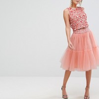 Lace & Beads Tulle Layered Midi Skirt Co-ord at asos.com