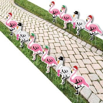 Flamingle Bells - Pink Flamingo Christmas Lawn Decorations - Outdoor Tropical Christmas Yard Decorations - 10 Piece