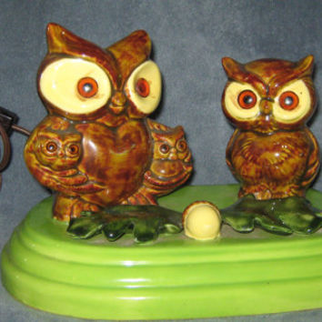 Vintage 70s Owls with Babies TV Lamp Nighlight -still works