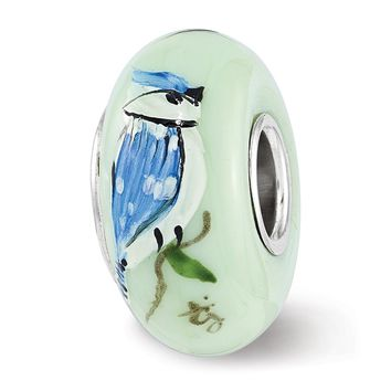 Fenton Sterling Silver Hand Painted Green Blue Jays Rule Glass Charm