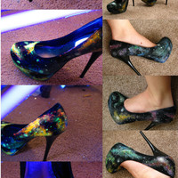 Galaxy Heels // UV/Blacklight & Glow in the Dark // SALE :D