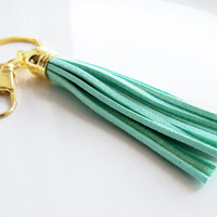 Mint Leather Tassel Key Ring - Suede Tassel Key Chain - Purse Tassel - Gold And Mint Key Fob - Leather Fringe - Light Green With Split Ring