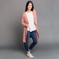 Rafael Soft Long Cardigan - Dusty Pink | Called To Surf