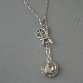Rumbelle Necklace Spinning Wheel and Tea Cup Charm  Once Upon A Time Necklace  OUAT Inspired