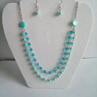 Turquoise Multi Strand Necklace,Pearl Bib Necklace Statement,Bridesmaid Jewelry Set