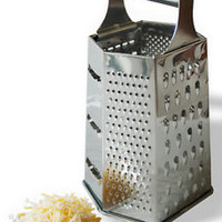 Stainless Steel 6 Sided Grater Cheese, Potatoes, Carrots Fine Medium Coarse
