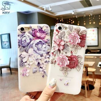 KRY 3D Relief Flower Silicone Phone Cases For iPhone 7 Rose Floral Case For iPhone 6 6S 7 8 Plus X 5 5S SE Soft TPU Cover Capa