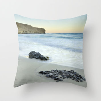 Black volcanic rocks Throw Pillow by Guido Montañés