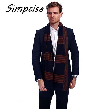 [Simpcise] Mens Scarf Winter Fashion Plaid Scarf Brand Warm Scarves Man Luxury Collocation Warp A3A18934