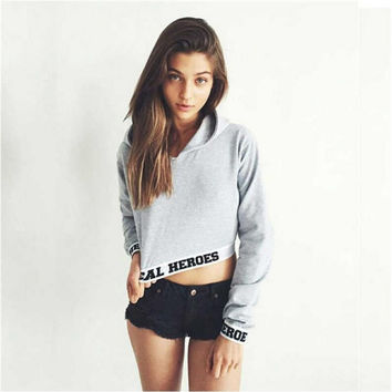 Gray Letter Print Hooded Long Sleeve Sweatshirt