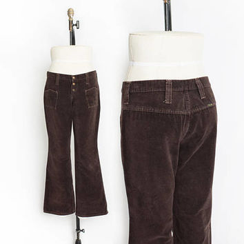 Vintage 1970s Bell Bottom Cords - Dark Brown Corduroy Low Rise Rise Jeans - Large / Medium