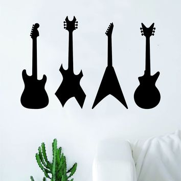 Guitar Silhouettes V2 Wall Decal Sticker Bedroom Room Art Vinyl Home Decor Music Teen Kids Electric Acoustic Rock