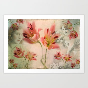 Hidden under the flowers Art Print by Victoria Herrera