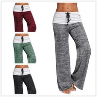 Yoga  Lace Up Foldover Wide Leg Pants