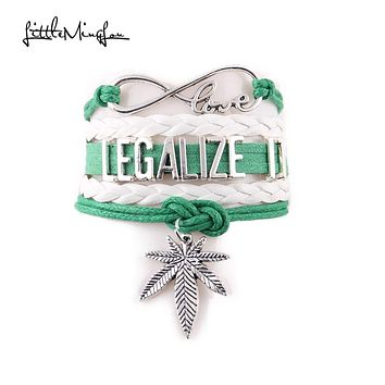 Legalize It - Leather Woven Bracelet with Infinite Cannabis Leaf