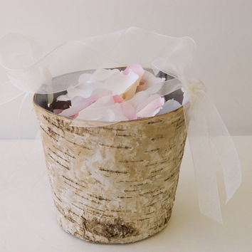 Birch Flower Girl Basket with Ivory Organza Handle