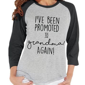 Pregnancy Announcement - Promoted to Grandma Again Shirt - Grey Raglan Shirt - Pregnancy Reveal Idea - Surprise New Grandparents - Grandma