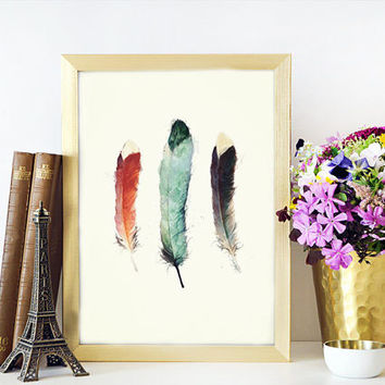 Watercolor Art Feather Print Tribal Art Nature Decor Watercolor Feather Watercolor Art Print Archival Print Feather poster Wall artwork