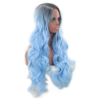 Colorful Long Wave Curly Black Ombre Blue Cosplay Wig Lolita Style Anime Costume  Wigs
