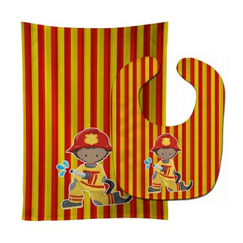 Fireman Boy Baby Bib & Burp Cloth BB6996STBU
