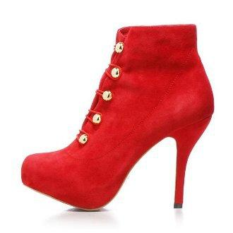 Suede Ankle Boots Red
