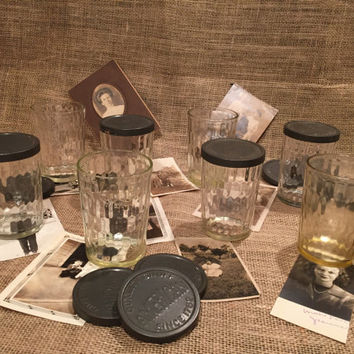 Snuff Glasses by American/Vintage 1930's/Eight Glasses in All/Honeycomb Design/Jelly Jars/Canning/Drink or Juice Glasses